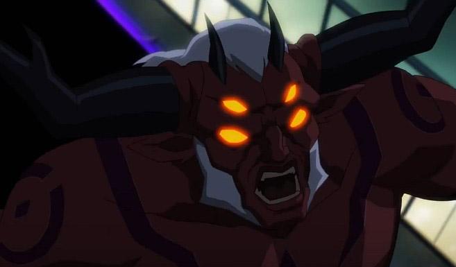 Тригон появляется в Лига Справедливости против Титанов