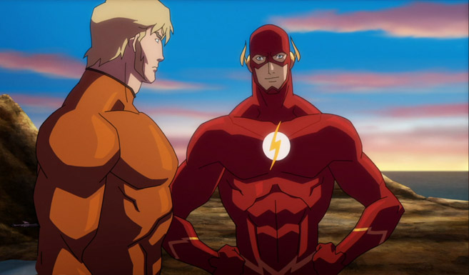 Флэш появляется в Лига Справедливости: Трон Атлантиды