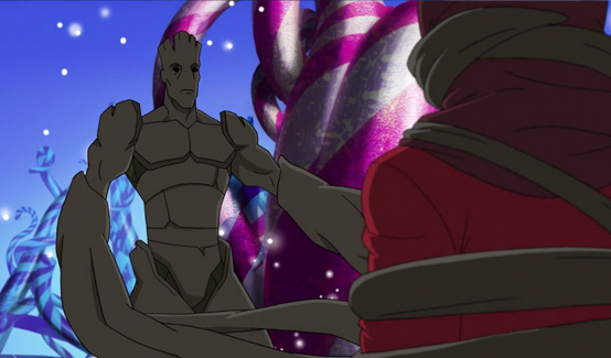 Грут появляется в Приключения Супергероев: Морозный Бой