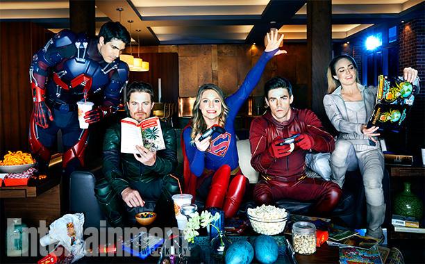 Кадр из супергеройского кроссовера CW